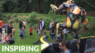 Bumblebee from Transformers shows up to little boy's birthday