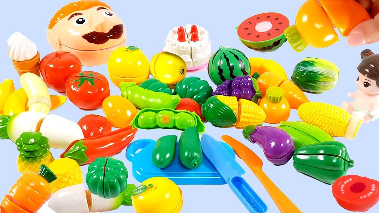 learn colors & 싹둑 싹둑! 냠냠! 재미있는 과일 야채 자르기 놀이를 해 보아요