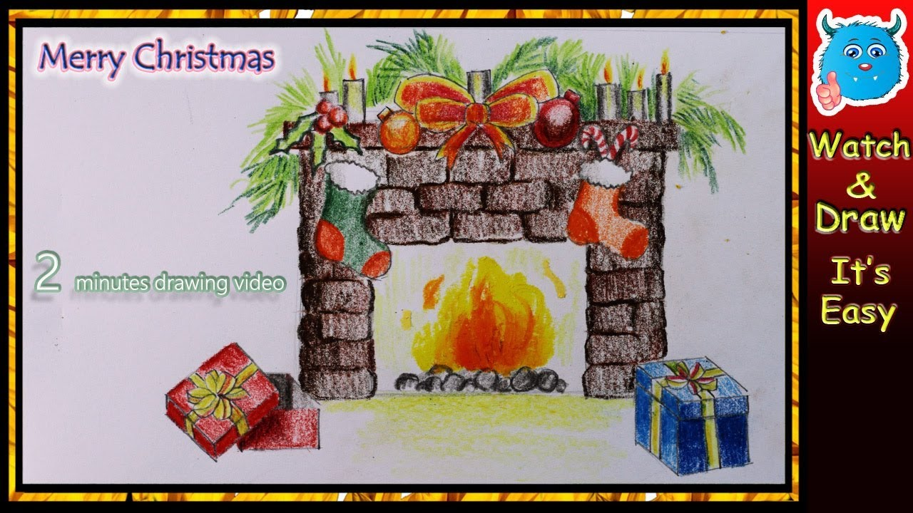 easy drawing christmas decoration of fireplace for 2017 youtube