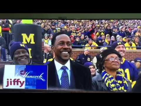 Michigan Card Stunt for Desmond Howard Jersey Retirement
