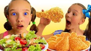Emi and Niki Pretend Play School & Learn to Eat Healthy food