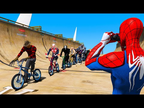 Bicycle challenge Ramps GTA V Mods Spiderman and Pinhead Freddy Krueger Pennywise Ghostface Stan Lee thumbnail