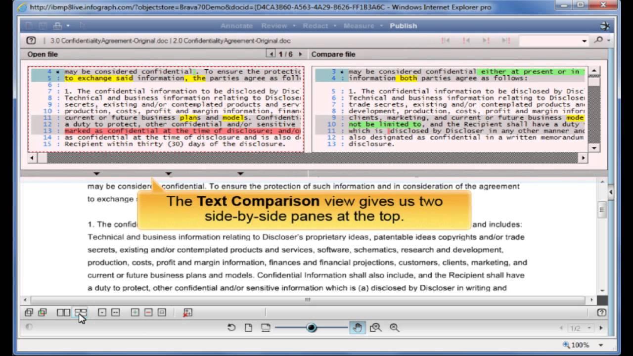 Compare Documents in Brava for IBM FileNet P8