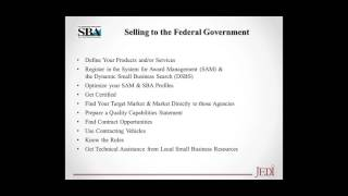 JEDI  Webinar - Government Contracting 101 for Small Businesses