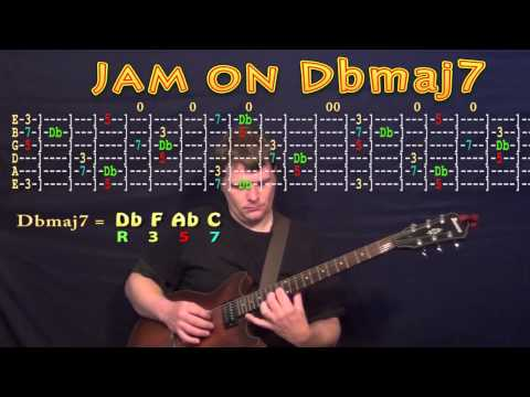 Guitar Jam Lesson - Db Major - Dbmaj7 - Db F Ab C - JAMTRACK - M.M.=60