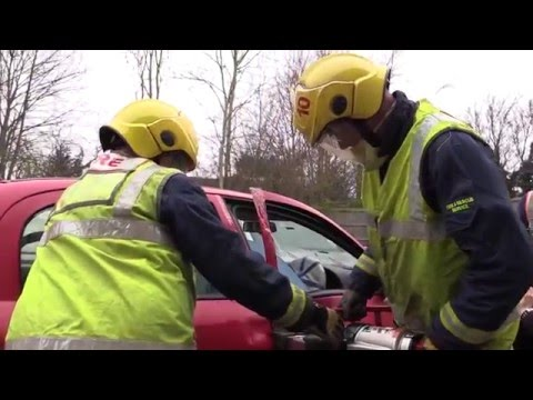Road traffic collision rescue demonstration