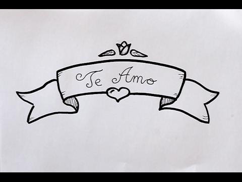 Cómo dibujar Letrero con TE AMO Dibuja Conmigo Dibujos de Amor - YouTube