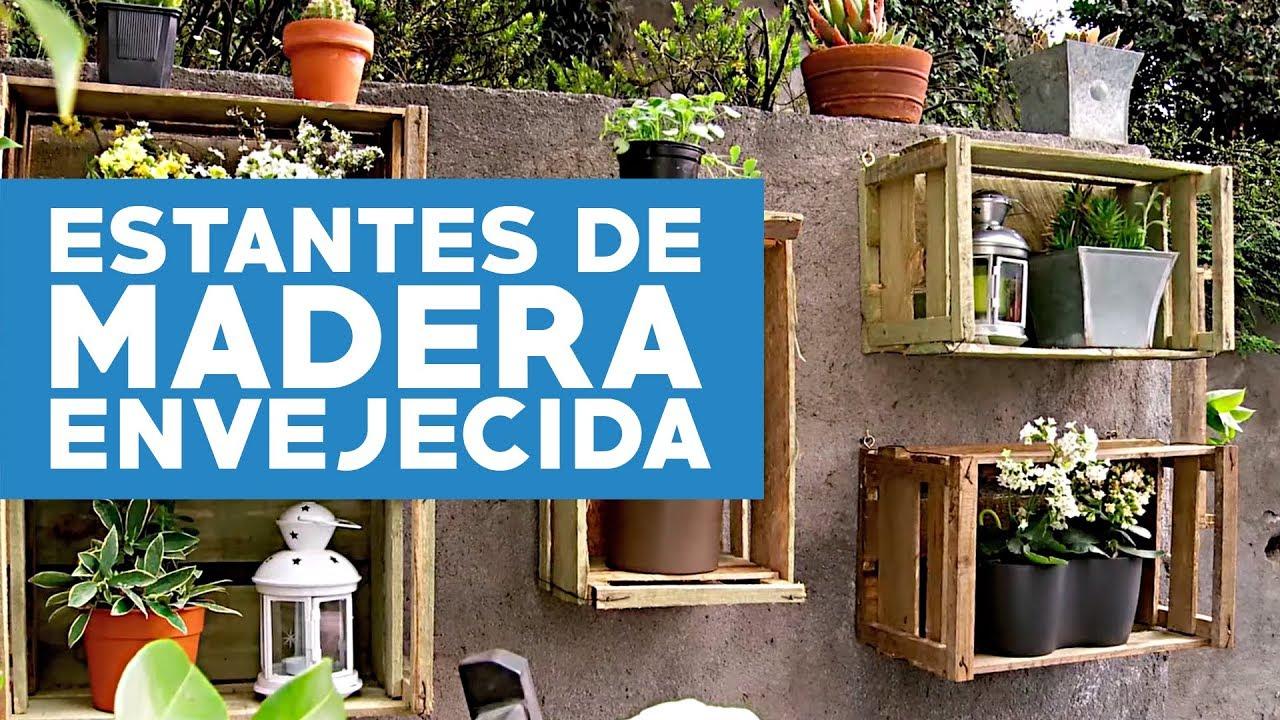 C mo hacer estantes de madera envejecida para las plantas - Estantes de madera para pared ...