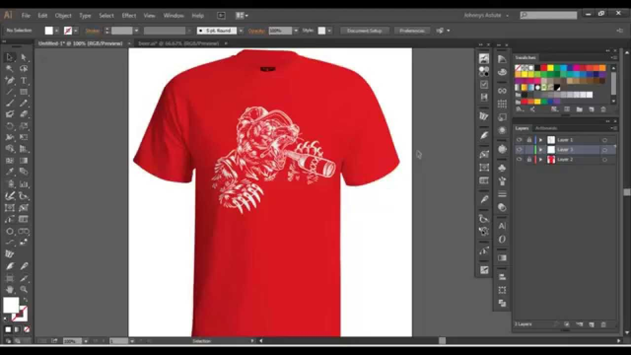 Vector tshirt mockup tutorial youtube for Custom t shirt software