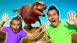 Magic Portal to Jurassic World | Adi and dad pretend play with Dinosour Fursiki show