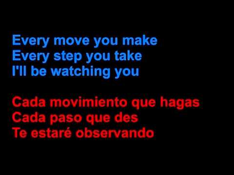 The Police - Every breath you take - Letra en español y en inglés en la pantalla