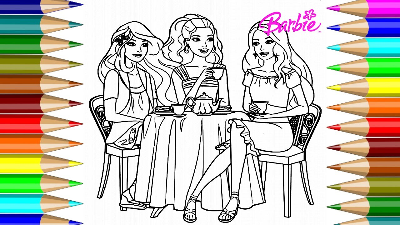 Barbie Coloring Book Having Coffee Tea Coloring Pages Kids