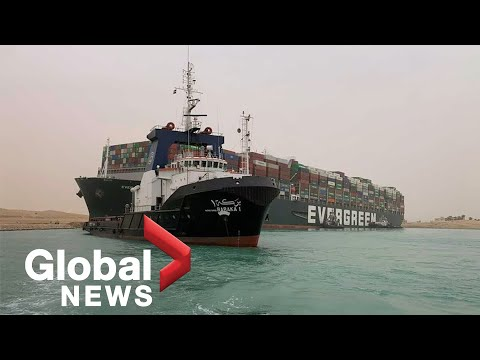 Massive cargo ship stuck in Suez Canal continues to harm global shipping