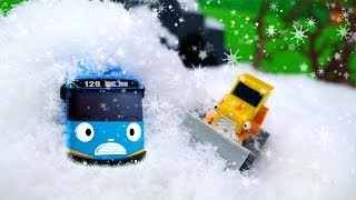 Tayo Toys in the Snow! Bulldozer, Toy Tractor, & Tow Truck for Kids Save Tayo the Little Bus