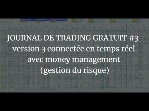 JOURNAL DE TRADING GRATUIT #3 version 3 connectée en temps réel avec money management 1