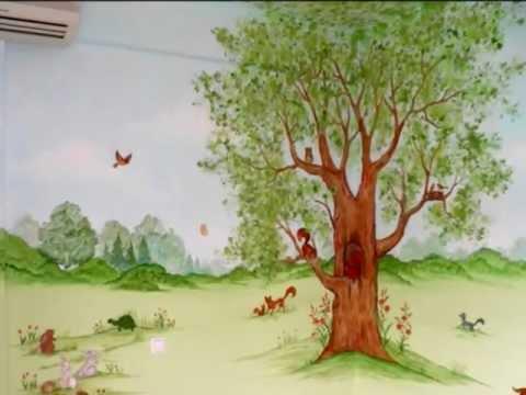 Ζωγραφική σε παιδικό δωμάτιο: Ζώα του δάσους