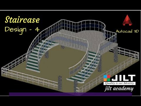 AutoCAD 3D (Staircase design) in - Dual Curved Staircase (with commands)