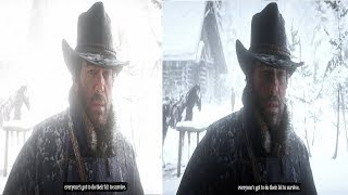 Red Dead Redemption 2  Graphics Comparison Version 1 vs Version 1.2 PS4 Pro Gameplay