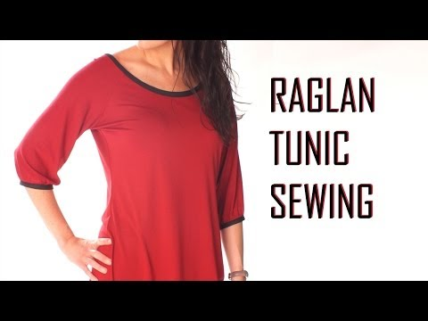 How to make a ragalan tunic / sewing jersey stretch fabric / how to sew T shirt