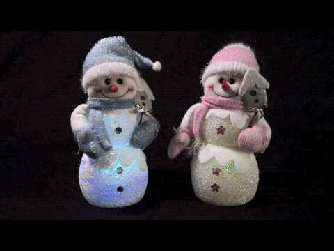 22cm Blue / White & Pink / White Snowman With Hat (XS 0734 & XS 0735)