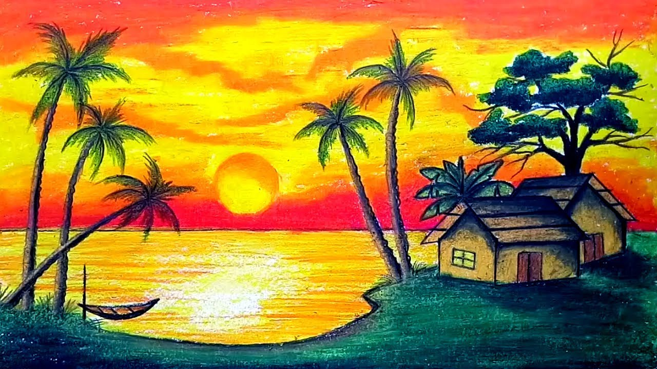 Sunset Paintings | DesiPainters.com |Pastel Drawings Of Sunsets
