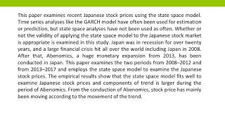 The Validity of Applying State Space Model to Japanese Stock Market IJEFM 2018 31 1 8