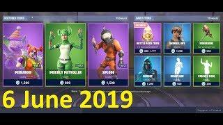 Fortnite NEW SHOP 6 juin 2019 Peekaboo Skin, Nite Nite Skin, Splode Skin, Bunny Hop Emote