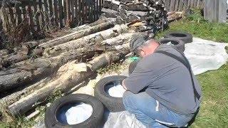 Смотреть видео фундамент бани из автошин