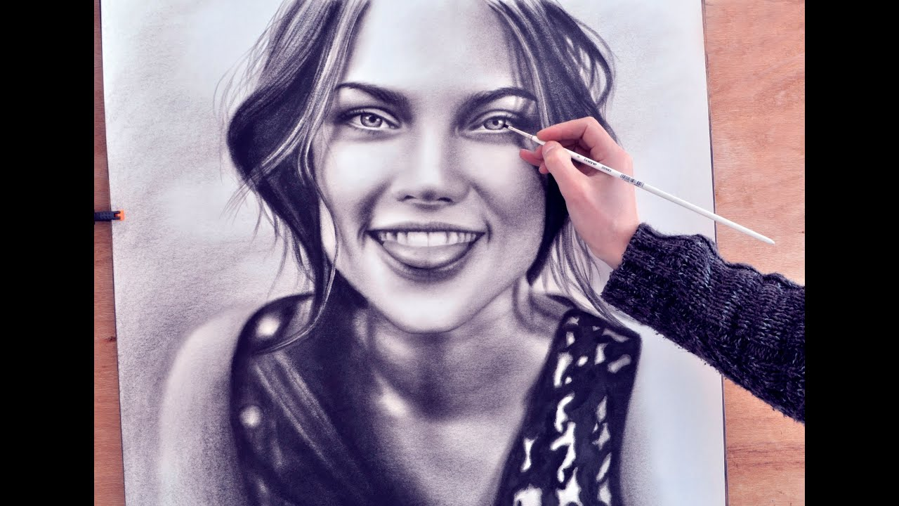 how to paint a face speed drawing drawing realism malen vom foto zeichnen dry brush youtube. Black Bedroom Furniture Sets. Home Design Ideas
