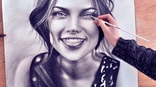 How to Paint a face (speed drawing) drawing (realism) malen vom Foto zeichnen dry brush
