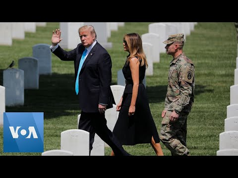 Trump Visits Arlington Cemetery to Pay Tribute