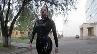The Big Bang in latexcatsuit in public