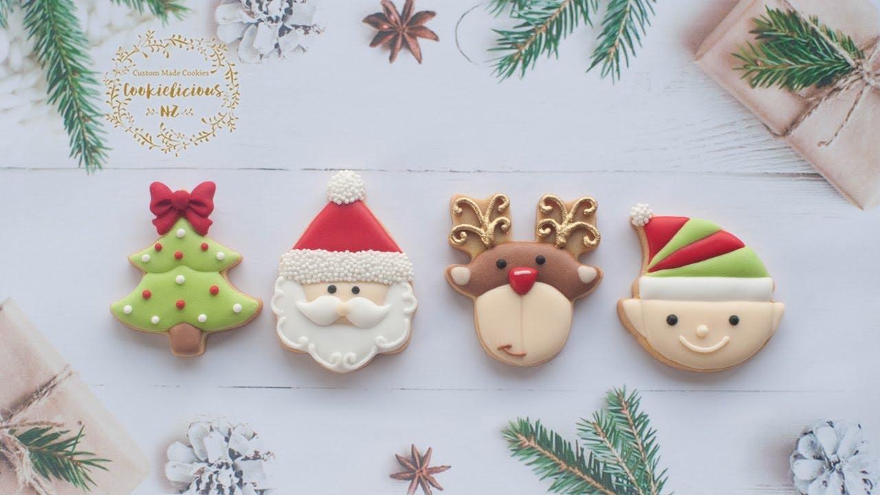 How To Make Christmas Mini Cookies Learn To Make Santa Elf Rudolf And Christmas Tree Cookies