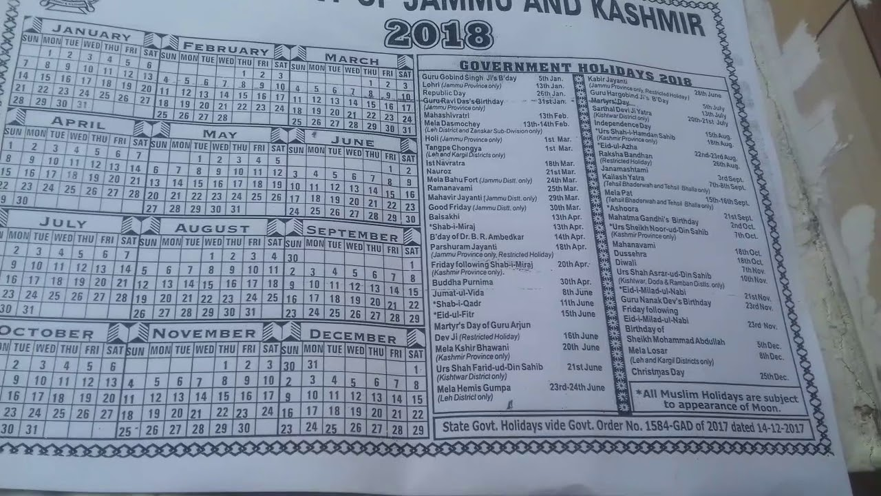 government of jammu and kashmir calendar 2018
