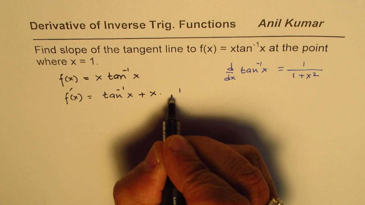 Find Slope Of Tangent Line For Trig Function Calculus Ap