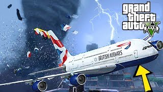 INSANE TORNADO HIT OUR PLANE !!! CRASH LANDING GTA 5 END OF LOS SANTOS MOD - MICHAEL