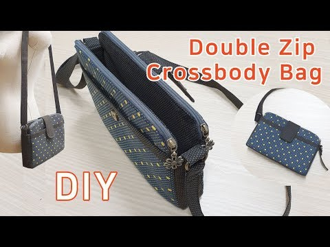 DIY Double zipper crossbody bag/ Crossbody Bag Tutorial/더블지퍼 크로스백 만들기/가방만들기