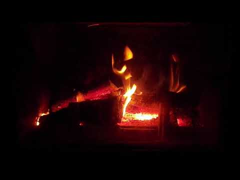 Crackling Fireplace with Thunder Rain & Howling Wind Sounds