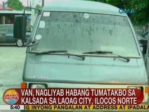 UB: Van, nagliyab habang tumatakbo sa kalsada sa Laoag City, Ilocos Norte