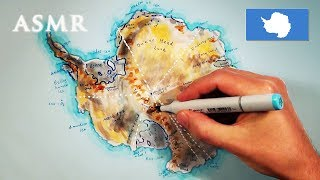 ASMR 1hr Drawing Map of Antarctica | History of Exploration