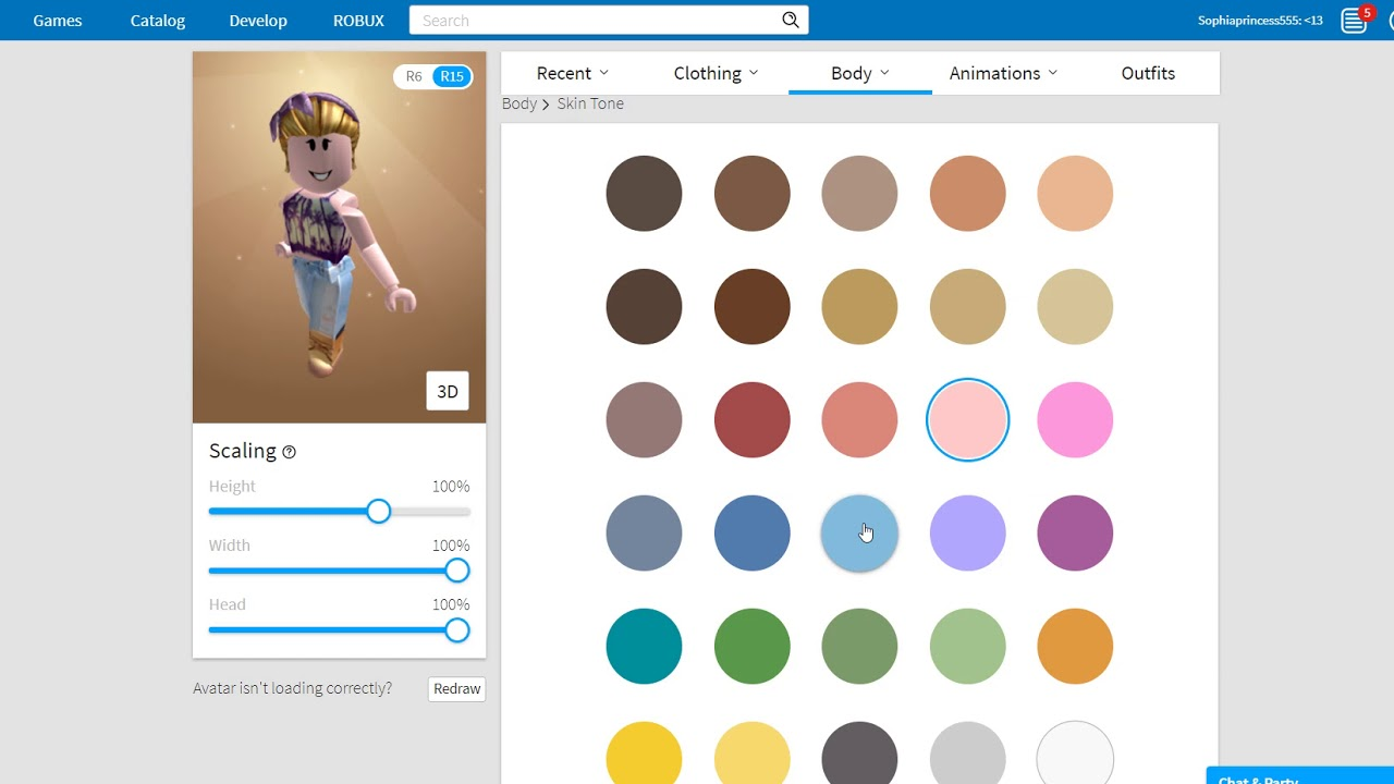 Roblox How To Change Skin Color Youtube