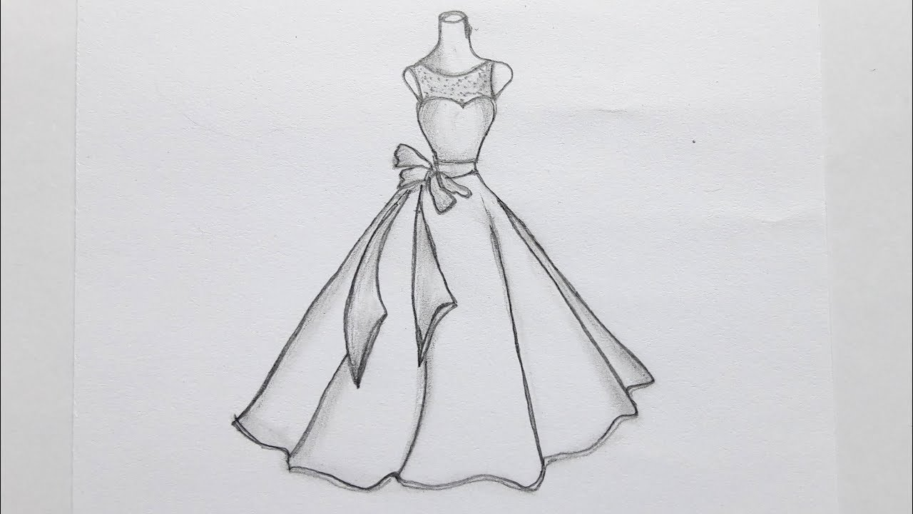How to draw girls dress every easy way/Gown drawing by ...