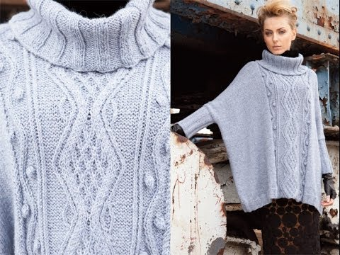 Vogue Knitting Cape Pattern : #25 Cabled Poncho, Vogue Knitting Early Fall 2011 - YouTube