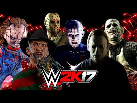 Freddy Vs Jason Vs Chucky Vs Michael Myers Vs Pinhead WWE 2K17 Wtf Fr...