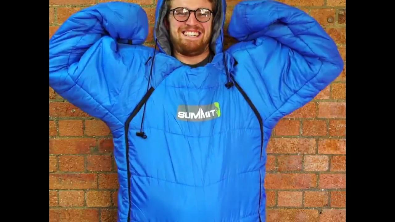 summit sleeping bag suit camping onesie youtube. Black Bedroom Furniture Sets. Home Design Ideas
