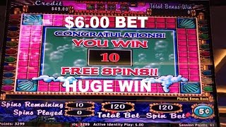 Mystical Mermaid $6.00 Bet with Bonus Free Spins and HUGE WIN Slot Machine Live Play