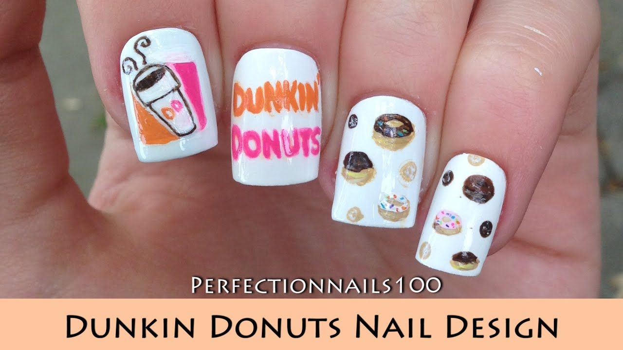 freehand dunkin donuts nail design