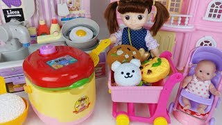 Baby doll rice cooker kitchen and cooking surprise eggs food toys play 아기인형 밥솥 주방놀이 서프라이즈 에그 장난감 토이몽