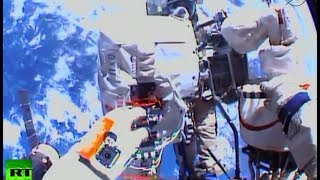 Cosmic video: Russian cosmonauts take record-breaking spacewalk
