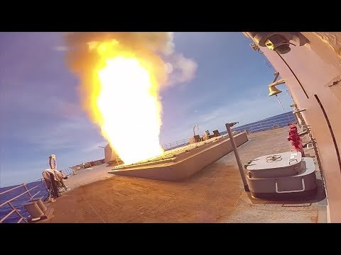 Missile Away! Navy Guided Missile Cruiser Launches SM-2 Missile In The Philippine Sea